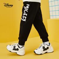 迪士尼男童针织长裤2020春秋新款宝宝儿童洋气米奇童装裤子潮