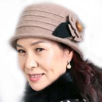 秋冬季毛呢妈妈帽 女中老年人帽子 冬帽花朵礼帽 保暖盆帽
