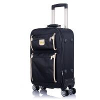 商务拉杆箱万向轮男20寸帆布登机旅行箱女24寸行李箱皮箱密码箱 黑色 双袋款