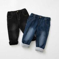 秋冬季男女童加绒加厚牛仔裤宝宝蓝色水洗炭黑色保暖长裤
