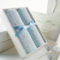 竹纤维毛巾礼盒套装礼品定制礼盒毛巾绣LOGO礼物 2301款(默认 蓝粉 绿叶盒) 74x34cm