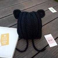 秋冬宝宝帽子毛线帽立体耳朵帽子编织毛线婴儿帽子儿童保暖帽yly 黑色 小熊耳朵毛线帽 均码