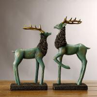 欧式创意摆件家居饰品古典奢华高贵麋鹿头办公室桌面摆设软装饰品 一对