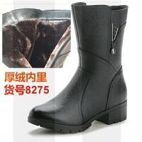 秋冬短靴女士加绒保暖真皮中年妈妈靴子低跟圆头中靴全牛皮休闲靴SN1707 36 女款