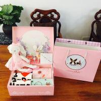 春夏��憾Y盒����出生�Y品套盒�L短袖��b用品�M月周�q�Y物 短袖 粉色�Y盒F款花色 73cm(6-12月 �杉�73 ��80)