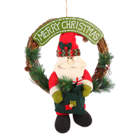 圣诞装饰挂件麋鹿雪人毛绒玩偶藤圈圣诞老人圣诞花环 cx10067-1 (CX10067老人藤圈)
