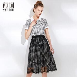 颜域2018夏装新款气质时尚减龄短袖修身显瘦格子衬衫两件套连衣裙