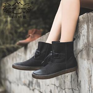 玛菲玛图黑色单靴子女秋款2017新款真皮百搭学生短筒复古学院风系带马丁靴678-6
