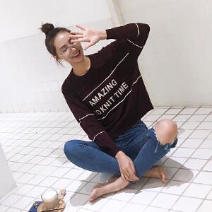 2018秋冬装新款休闲时尚圆领字母条纹chic撞色宽松长袖毛衣女针织衫