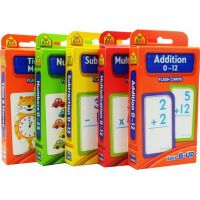 【算数套装5盒】School Zone Flash Cards Addition Multiplication Subtraction Numbers Time Mo 加减乘法卡片字卡 英文原版