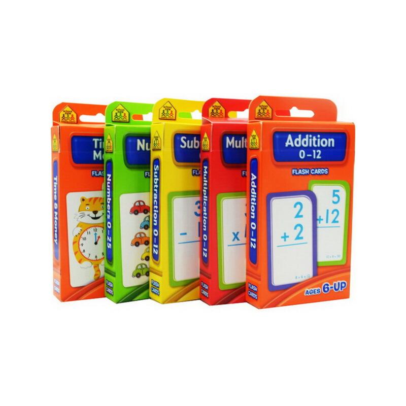 【算数套装5盒】School Zone Flash Cards Addition Multiplication Subtraction Numbers Time Mo 加减乘法卡片字卡 英文原版