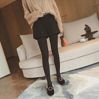 毛呢短裤女秋冬高腰大码休闲宽松靴裤