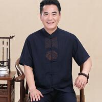夏季中老年唐装男短袖亚麻套装中国风中年男士爸爸装老人衣服夏装