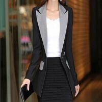 小西装女外套2018春季新韩版修身中长款一粒扣西服休闲长袖