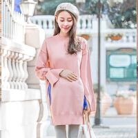 韩版长袖上衣孕妇连衣裙孕妇装秋冬装宽松大码中长款孕妇裙子
