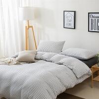 针织棉四件套天竺棉三件套简约风纯棉床笠被罩全棉床单4件套上新 白色 雅白细条