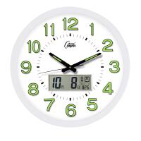 康巴丝金属静音电波钟日历温度创意客厅挂钟夜光钟表多款钟面