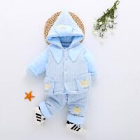 婴儿棉衣套装加厚冬季男女宝宝衣服连马甲三件套0-2岁外出服 天蓝色 8115加厚三件套