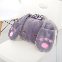 长耳兔抱枕靠垫汽车抱枕被子两用空调被办公室靠枕