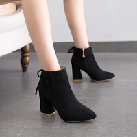 2018秋冬季新款短靴高跟马丁靴靴子磨砂及踝靴尖头英伦风短靴女鞋