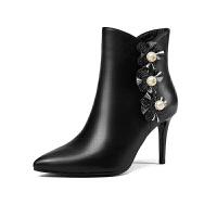�W洲站2018新款冬季高跟鞋百搭黑色�跟真皮尖�^靴子女短靴女高跟 黑色