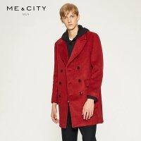 【2件2.5到手价:126.5】MECITY男装中长款双排扣修身羊毛呢大衣外套