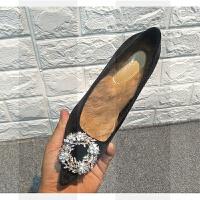 高跟鞋女冬新款兔毛细跟加绒单鞋水钻红色婚鞋新娘鞋毛毛鞋女冬SN5466 黑色 【兔毛款】