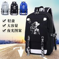 海贼王双肩包男夜光个性书包路飞日韩版学生包大容量休闲旅行背包