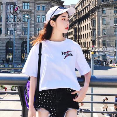 欧若珂   2018夏季新款韩版老虎头印花短袖t恤女休闲五分袖宽松上衣女