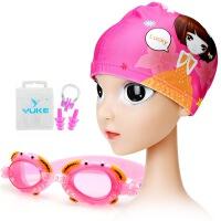 3中大童小学生卡通儿童泳帽男女童小孩长发护耳游泳帽+泳镜套装7