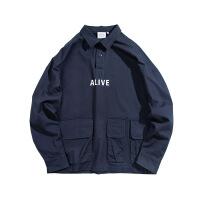 新年优惠【NEW】半门襟工装衬衫 秋季士套头宽松嘻哈多口袋夹克