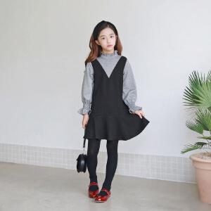 女童假两件连衣裙细格日系甜美中大童喇叭袖