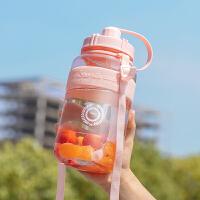 大容量塑料水杯女便携带吸管学生户外运动健身水壶男杯子2000ml