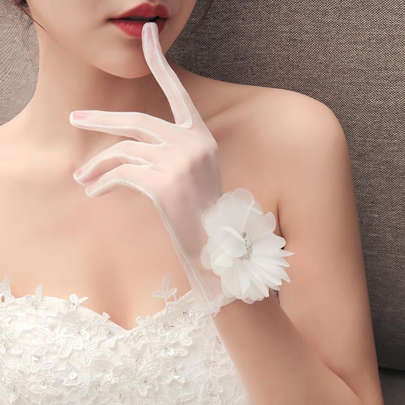 【支持礼品卡】新娘手套蕾丝结婚红白色长短款有指婚纱礼服拍照黑色网纱镂空香槟l8o 白色均为乳白色,因光线会有色差亲亲