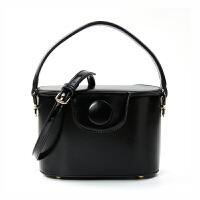 包圆扣饭盒水桶包包女新款时尚斜挎包女手提包单肩小包 黑色-少量现货