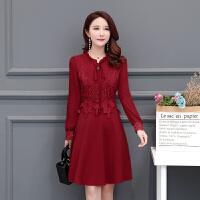 2018秋季新款女装韩版妈妈裙子气质修身显瘦时尚中长款长袖连衣裙