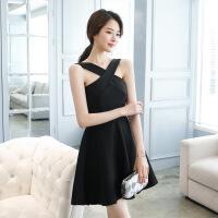 2018X夏季新款黑色小晚礼服女挂脖连衣裙短款 黑色 S