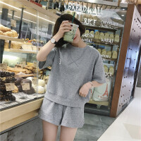 韩版运动休闲套装夏装女装宽松百搭短袖T恤上衣+阔腿裤短裤两件套 均码