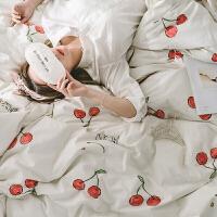 简约水洗棉四件套纯棉1.8m床单被罩全棉卡通裸睡床上用品床笠春夏