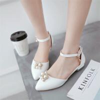 春夏女童尖头舞蹈鞋韩版甜美一字扣带公主单鞋中学生平跟包头凉鞋