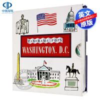 口袋城市指南系列 英文原版 华盛顿特区 3D口袋城市指南 Washington, D.C. 精装 剪纸立体书 礼品书 礼