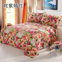 床单四件套纯全棉加厚老粗布四件套简约床上单双人学生套件1.51.8 玫红色 姹紫嫣红