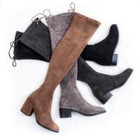 过膝靴显瘦瘦弹力靴长靴高跟长筒袜子靴中跟高筒女靴40码41软底 3.5cm平跟 黑色