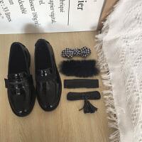 韩国百变魔法贴小黑鞋百搭少女套头加绒蝴蝶结毛毛单鞋乐福