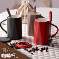 创意女学生陶瓷带盖勺马克杯 韩版咖啡杯潮流家用喝水杯子情侣一对