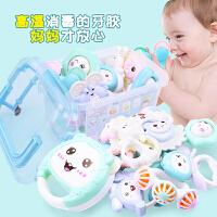 婴儿牙胶手摇铃宝宝新生儿玩具0-3-6-8-12个月幼儿0-1岁