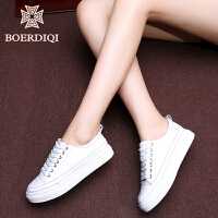波尔谛奇2017秋季新款女鞋系带休闲鞋中跟单鞋小白鞋女30058