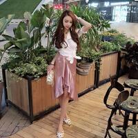 套装女夏2018新款泡泡袖系带衬衫+高腰不规则荷叶边半身裙套装潮 白衣+粉裙