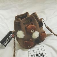 包包2018秋冬新款时尚链条迷你水桶包可爱小包包萌单肩包斜挎女包