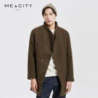 【1件3折到手价:119.97】MECITY男装拉链立领夹棉保暖中长款羊毛呢大衣外套韩版